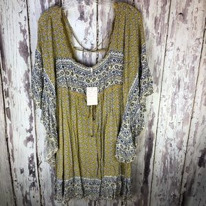 Free People Mustard Combo Tunic Dress M New